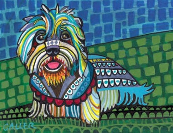 60% Off- Dandie Dinmont Terrier Artwork Prints Poster of Painting Blue Green art dog  Art Print Poster by Heather Galler (HG354)