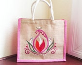 Jute Tote, Lunch Bag, Hand Painted Fabric Art, EcoFriendly, Colored Burlap, Pink, Beige, Eco Fashion, OOAK