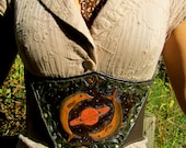 SALE --- Dolphins in Space  - Leather Waist Cincher/underbust corset. Hand carved. One of a kind.