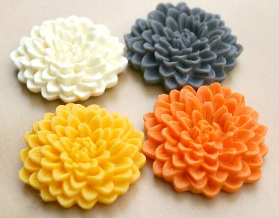 Fridge Magnet Set - Yellow Orange Gray White - Ruffly Mum Flower Magnets