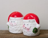 Santa Clause salt and pepper shakers Vintage adorable Black Friday Etsy Cyber Monday Etsy