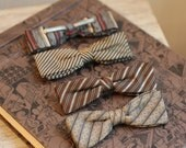 1950s bow ties Vintage Hollywood style set 4 shades of brown masculine gifts for dad gifts for him