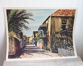 Southern Seascapes, John Rogers, Vintage Prints, Carribean Decor, Mid Century Decor, Palm Tree, 1950s, Florida, Neutral, Home Decor, set 2