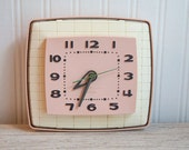 Pink Vintage Clock general electric 1950s kitsch kitchen clock electric retro home deco