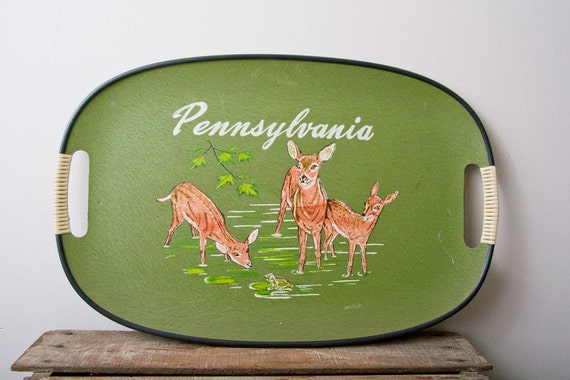 Pennsylvania  serving tray Souvenir Vintage with Deer and Frog made in Japan woodland Green