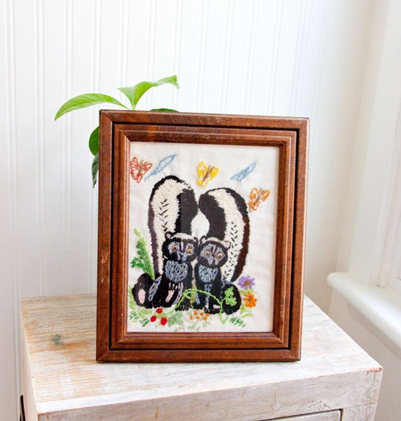 Skunks in Love framed needlework vintage woodland cottage decor black and white ON SALE ready to ship