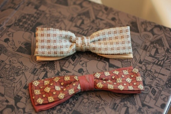 2 1950s Vintage Bow ties double bows clip on peach, brown, rust, gold patterns Dapper Gentleman gift for him