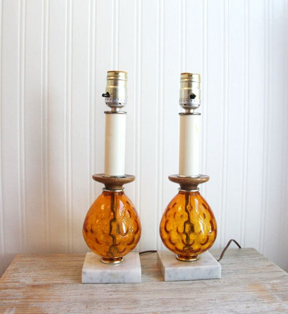 Vintage Table Lamps Amber glass with marble bases pair of lights Retro home decor