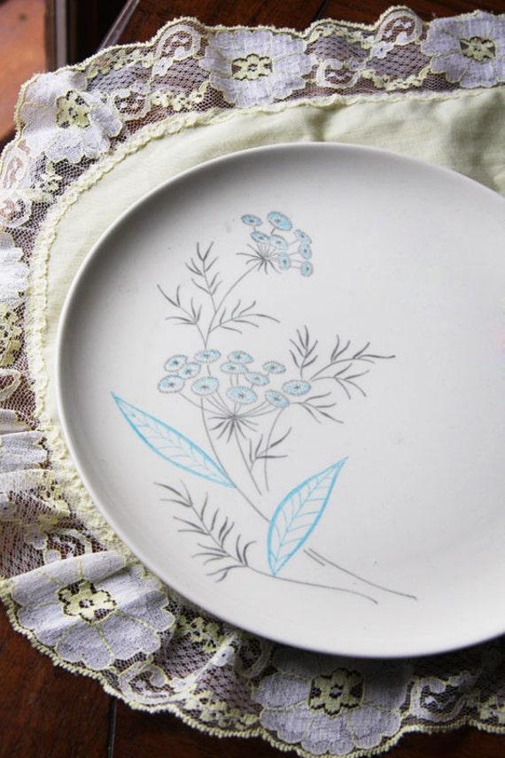 Vintage Royal Stetson Royal Maytime China dinner plates aqua blue grey 1950s set of 2  CIJ christmasinjuly