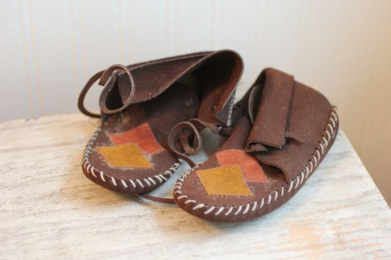 Vintage Childrens Mocassins circa 1950 Numbered hand laced and stitched OLD well worn brown kids shoes vintage