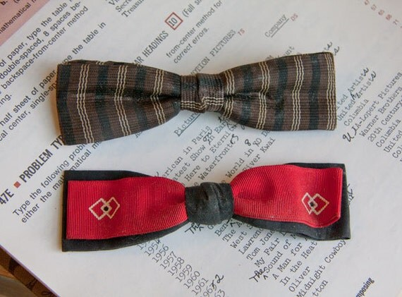 Dapper Vintage Bow Ties 1950s Mad Men clip on red black cream brown gift for dad