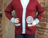 Varsity sweater New York / 1950s sweater / Varsity Cardigan /Vintage Xavier NY Sweater  School Button Down Cardigan Patch & Pockets