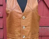 Vintage 1960s-70's Brown Leather Vest Hyde Park Trading Co.