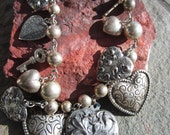 Silver Angel necklace , Heart, Cherubs, Ball Bead Large necklace