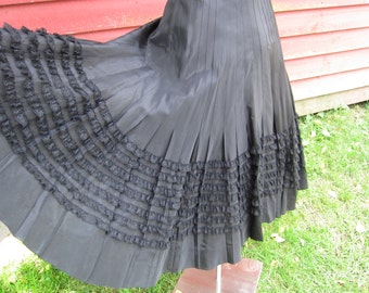 1950's Black Taffeta Velvet Lace Full Circle Skirt Cocktail Party Dress XS -S Formal Rockabilly