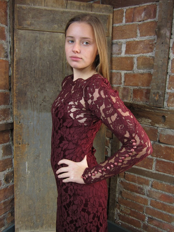 1930's-40's LACE Dress Gown Burgundy Peek a Boo . Slip Sexy Body Hugging Dress