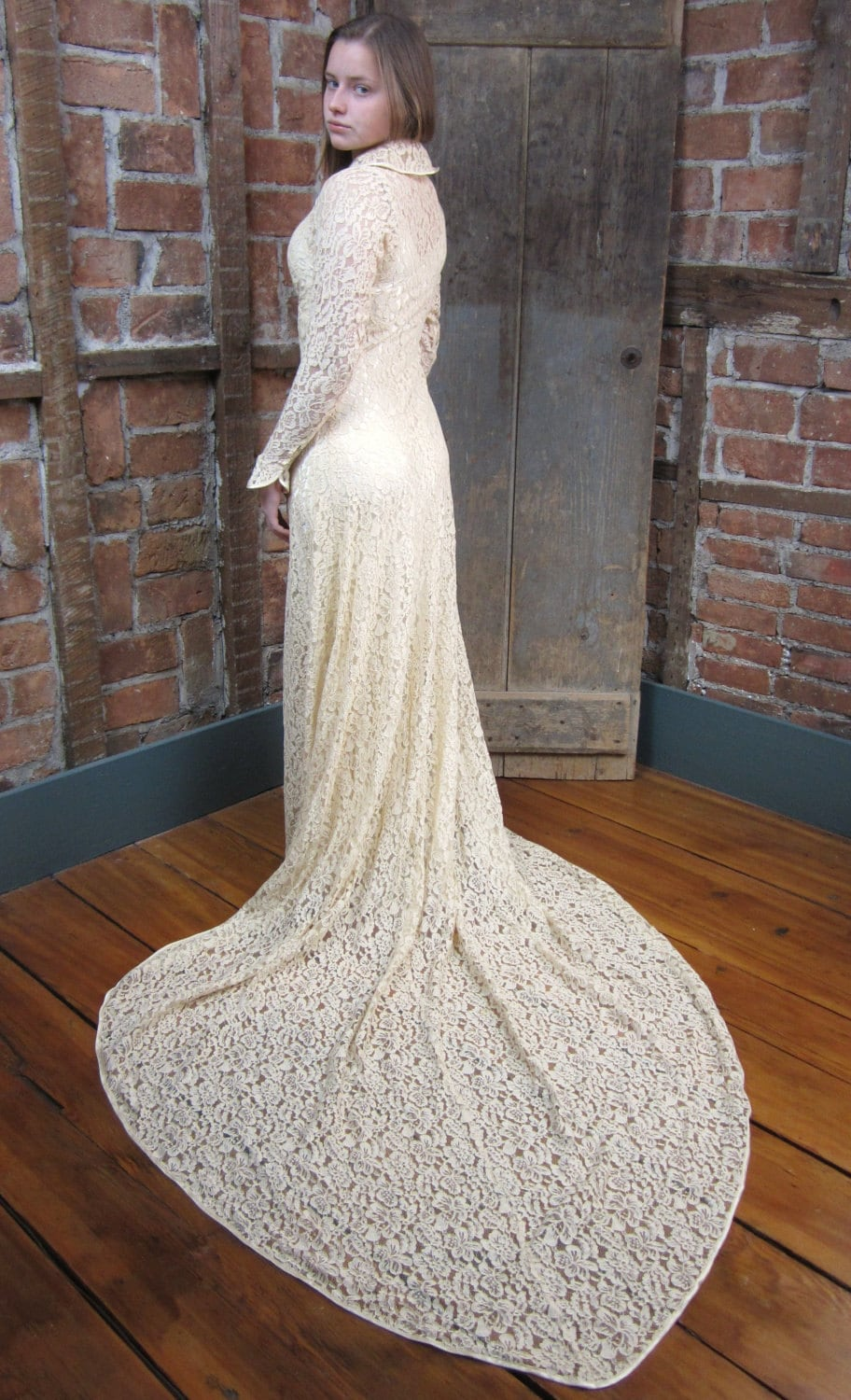 1930's Lace Wedding Gown Dress Bias cut Button Front Lace