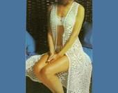 Crochet Bikini Vintage Pattern 204 PDF Lace Inset Bikini and Robe from WonkyZebra
