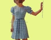 Tea Party Dress Crochet Dress Pattern Vintage PDF 341 from WonkyZebra