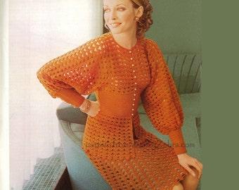 Skirt Suit Crochet Vintage 1970s Pattern PDF 287 from WonkyZebra