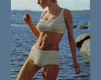 Vintage Knit Pattern 198 PDF Ribbed Bikini from WonkyZebra