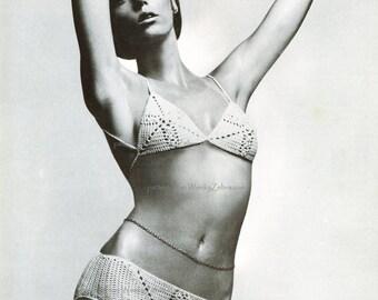 Vintage Crochet Pattern PDF 168 Lace Tie Bikini from WonkyZebra