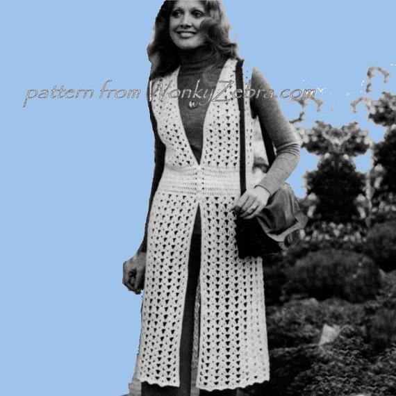 Vintage Crochet Pattern PDF 122 Midi Waistcoat from WonkyZebra