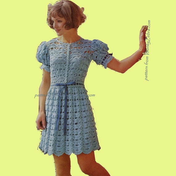 Tea Party Dress Crochet Dress Pattern Vintage PDF 341 from WonkyZebra