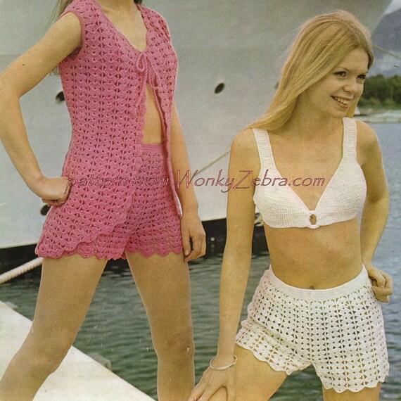 Crochet Bikini Set PDF Vintage Pattern 278 from WonkyZebra