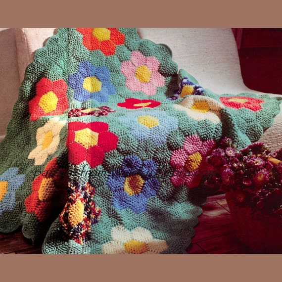 Vintage Crochet Pattern 200 PDF Hexagonal Blanket from WonkyZebra