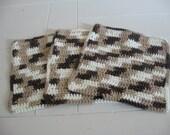 Set of Three Neutral, Chocolate Brown & White Washcloths - Dishcloths