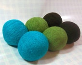 Wool Dryer Balls - Blue, Lime & Brown Set of 6 Eco Friendly - Can be Scented or Unscented