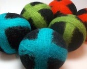Wool Dryer Balls- X's and O's Black Set of 6 - An Eco-Friendly Alternative to the Conventional Dryer Sheet and Fabric Softener! Therapy Ball