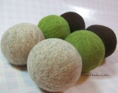 Wool Dryer Balls - Chocolate & Lime Set of 6 Eco Friendly - Can be Scented or Unscented