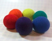 Wool Dryer Balls - Rainbow Colors - Set of 6 Eco Friendly - Can be Scented or Unscented