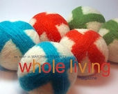 Wool Dryer Balls -X's and O's White Set of 6 Eco Friendly - Can be Scented or Unscented