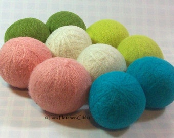 Wool Dryer Balls - Spring Garden - Set of 10 Eco Friendly - Can be Scented or Unscented