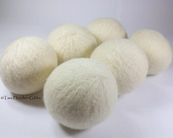 Wool Dryer Balls - Natural & Undyed Set of 6 Eco Friendly - Can be Scented or Unscented