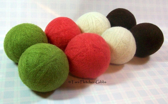 Wool Dryer Balls - Pinks, Limes and Browns - Set of 8 Eco Friendly - Can be Scented or Unscented