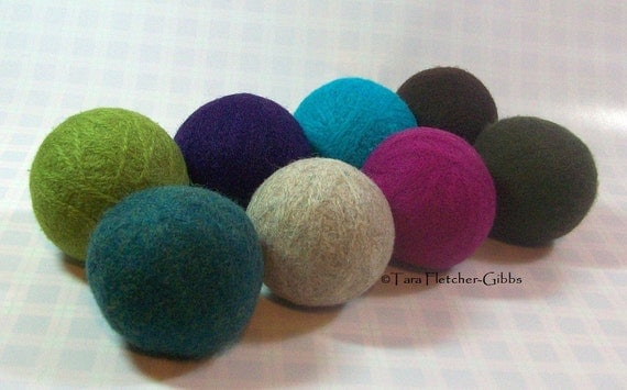 Wool Dryer Balls - Eclectic Colors Set of 8 - An Eco-Friendly Alternative to the Conventional Dryer Sheet and Fabric Softener!