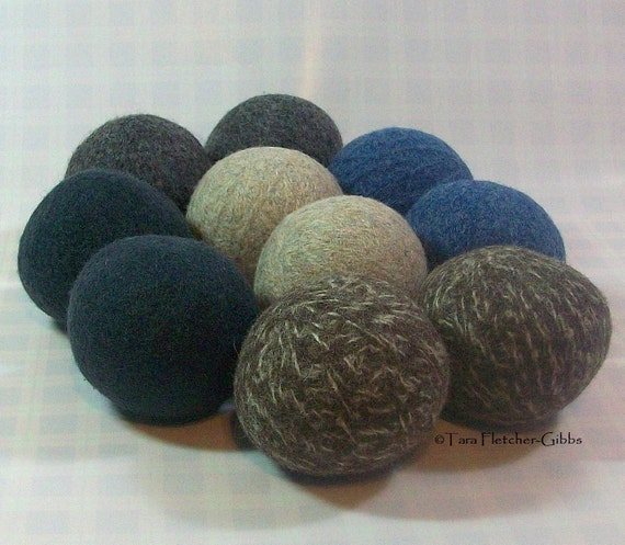 Wool Dryer Balls - Rugged Blues - Set of 10 - An Eco-Friendly Alternative to the Conventional Dryer Sheet and Fabric Softener! Therapy Gift!