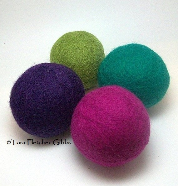 Wool Dryer Balls - Jewel Colors - Set of 4 Eco Friendly - Can Be Scented or Unscented