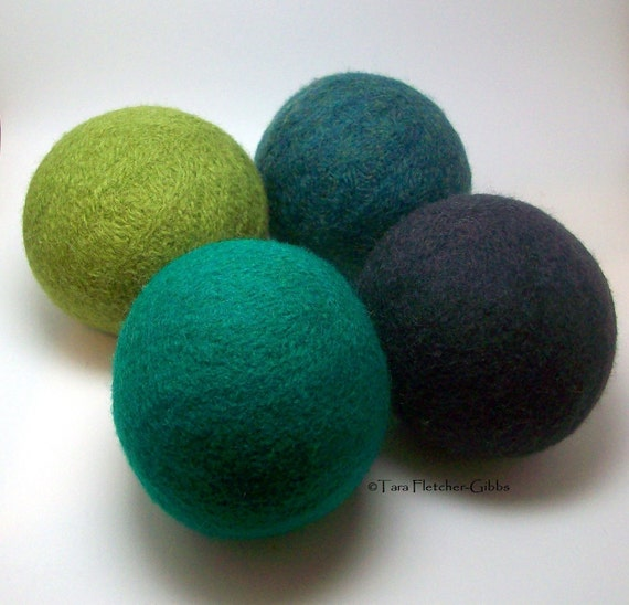 Wool Dryer Balls - A Late Evening in the Forest Set of 4 - An Eco-Friendly Alternative to the Conventional Dryer Sheet and Fabric Softener!