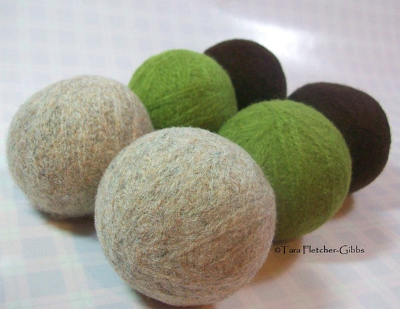 Wool Dryer Balls - Chocolate, Lime Set of 6 - An Eco-Friendly Alternative to the Conventional Dryer Sheet & Fabric Softener! New Mom Gift!