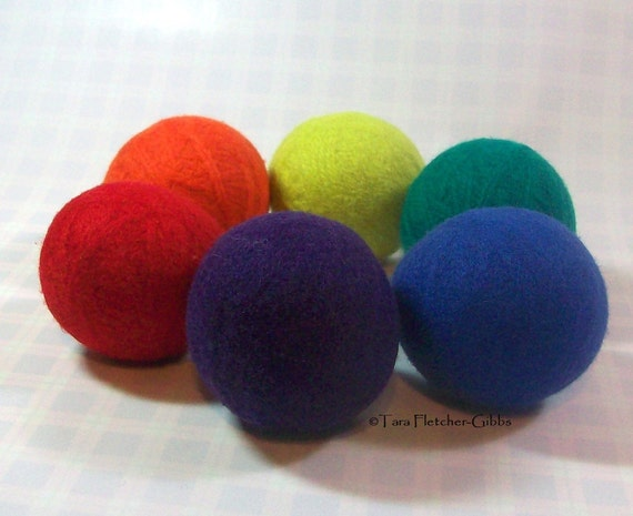 Wool Dryer Balls - Rainbow Colors - Set of 6 - An Eco-Friendly Alternative to the Conventional Dryer Sheet and Fabric Softener! New Mom Gift