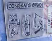 Graduation  Congratulations Clear/Rubber Stamp With Stamping Block/Set
