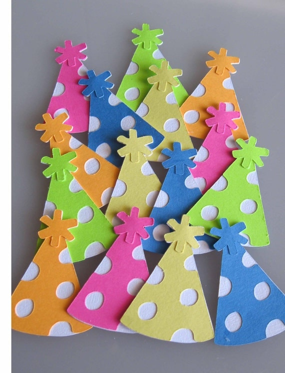 24 Party Hats Birthday Bright Color Die Cuts/ Embellishments