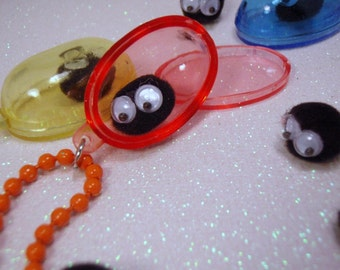 Captured Soot Sprite Colorful Capsule You PICK Pendant Necklace Black Yellow Orange Purple Pink Blue Totoro Spirited away