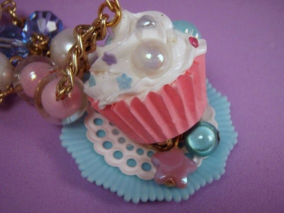 Baubles of Sugar Pastel Pink Blue and Purple Cupcake Beaded Chain Necklace Decora
