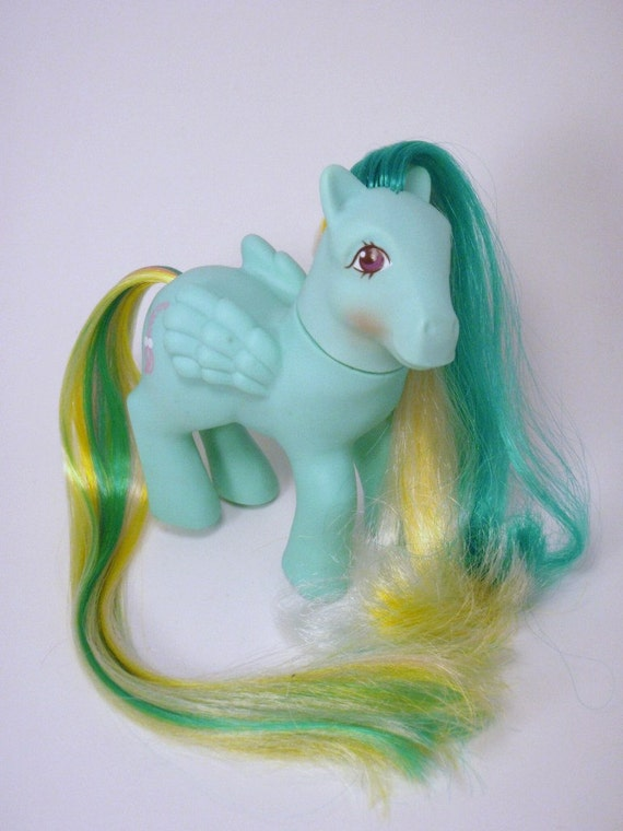 My Little Pony Brush n Grow Ponies Braided Beauty G1 Blue Yellow and Green MLP Pegasus